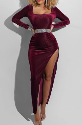 Wine Red Fashion Sexy Velvet Long Sleeve Square Neck For Party High Slits Slim Fitting Dress ZS0428-1