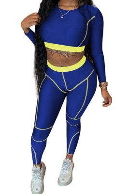 Blue Women Sexy Causal Fashion Dew Waist TwoPieces ED1076-2
