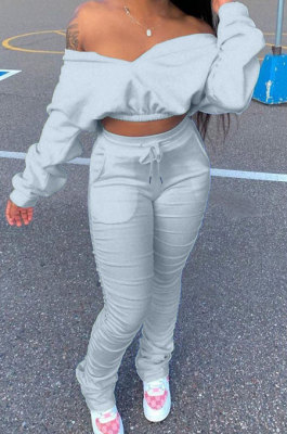 Gray Women Batwing Sleeve Pure Color Long Sleeve Crop Ruffle Pants Sets LD8768-3
