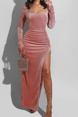 Lotus Pink Fashion Sexy Velvet Long Sleeve Square Neck For Party High Slits Slim Fitting Dress ZS0428-4