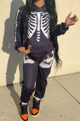 Black New Skulls Printing Long Sleeve Loose Hoodie Tops Trousers Sport Sets MK064