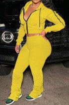 Yellow Euramerican Women Autumn Pure Color Zipper Hooded Top Ruffle Pants Sets XQ1146-2