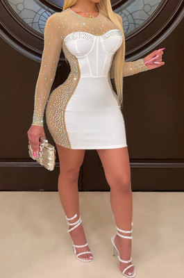 White Women Sexy Bling Bling Hip Perspectivity Pullover Mid Waist Mini Dress CCY9325-1