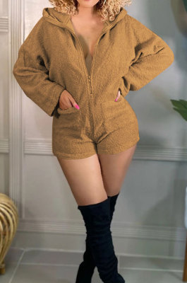 Coffee Pure And Fresh Casual Polar Fleece Long Sleeve Hoodie Living At Home Romper Shorts F88397-4