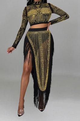 Golden Women Long Sleeve Round Collar Hot Drilling Sexy Side High Split Tassel Skirts Sets CCY9327-3