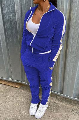 Blue Wholesale Velvet Side White Stripe Cardigan Zip Front Jacket Coat Trousers Sport Sets BM7235-3