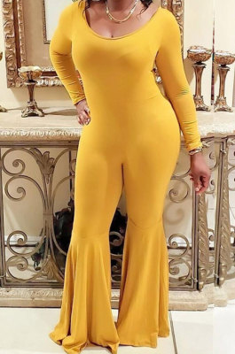 Yellow Sexy Cotton Blend Long Sleeve Slim Fitting Solid Color Flare Jumpsuits ZMM9123-1