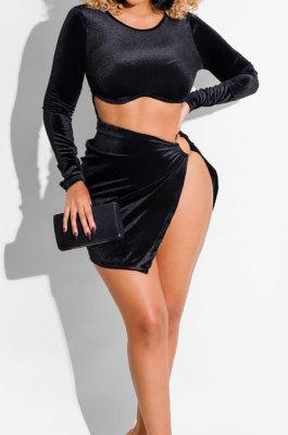 Black Sexy Nigh Club Velvet Long Sleeve Dew Waist Solid Color Split Dress BS1293-3
