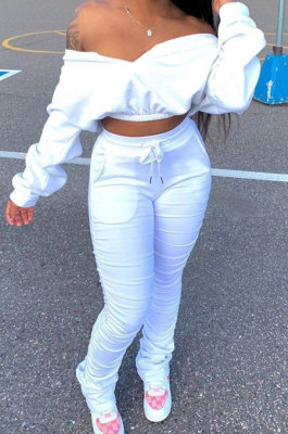 White Women Batwing Sleeve Pure Color Long Sleeve Crop Ruffle Pants Sets LD8768-1