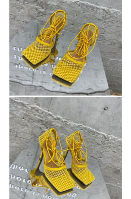 Women's Stiletto Lace Up Heels in Yellow