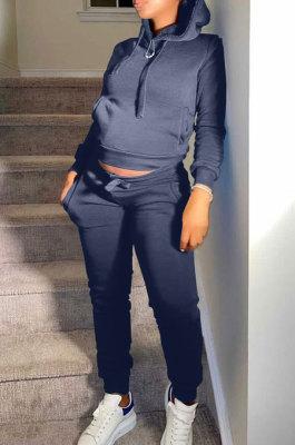 Navy Blue Autumn Winter New Velvet Long Sleeve Hoodie Trousers Plain Color Sports Sets LML274-7