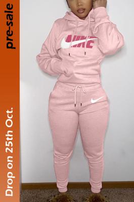Women's Printed N.I.K.E Hoodie Top & Jogger Pants Set in Pink