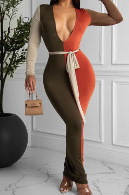 Orange Sexy Matching Color Long Sleeve Deep V Collar With Beltband Slim Fitting Long Dress LY048-4