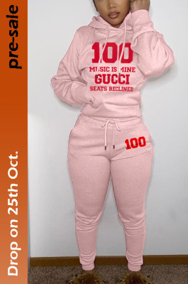 Women's Printed GG 100 Hoodie Top & Jogger Pants Set in Pink
