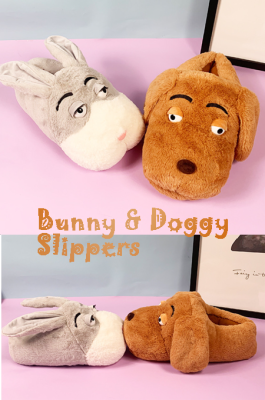 Furry Bunny & Doggy Slippers