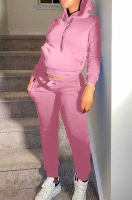 Pink Autumn Winter New Velvet Long Sleeve Hoodie Trousers Plain Color Sports Sets LML274-9