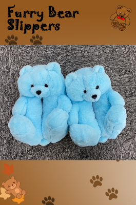 This Is Not A Toy, But Furry Bear Slipers to Adult in Light Blue