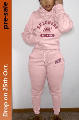 Women's Printed Hoodie Top & Jogger Pants Set in Pink