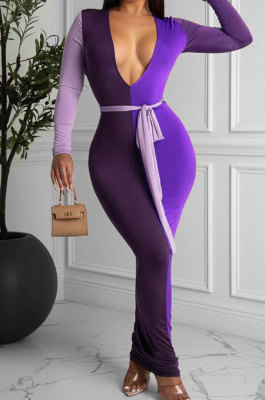 Violet Sexy Matching Color Long Sleeve Deep V Collar With Beltband Slim Fitting Long Dress LY048-2