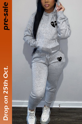 Women's Heart Printed Hoodie Top & Jogger Pants Set in Gray