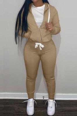 Kahki Wholesale Sports Women Long Sleeve Zipper Hoodie Bodycon Pants Solid Color Sets LML273-9