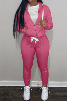 Rose Red Wholesale Sports Women Long Sleeve Zipper Hoodie Bodycon Pants Solid Color Sets LML273-8