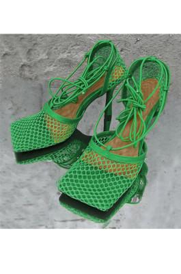 Women's Stiletto Lace Up Heels in Green