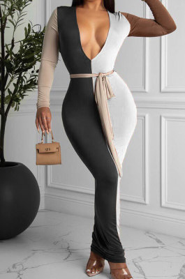 White Sexy Matching Color Long Sleeve Deep V Collar With Beltband Slim Fitting Long Dress LY048-3