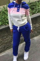 Blue Casual Preppy Thicken Spliced Long Sleeve Hoodie Tops Jogger Pants Sport Sets W8359-3
