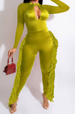 Neon Green Luxe Fashion Pure Color Long Sleeve Zip Back Slim Fitting Tassel Jumpsuits SZS8189-1