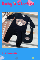 Bear 100% Cotton Baby One Piece with Bib for 0~12 month (size run small)