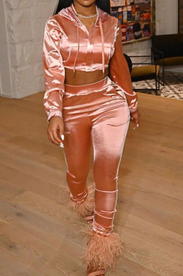 Pink Winter Women Solid Color Hoodie Top Long Sleeve Zipper Dew Waist Sexy Smooth Cloth Pants Sets LD81069-2