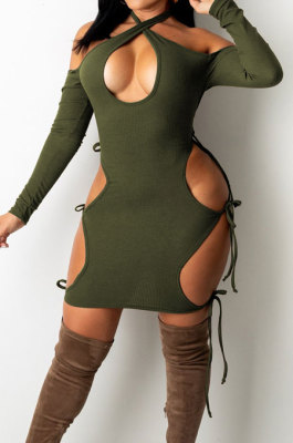 Dark Green Night Club Sexy Ribber Halter Neck Bandage Hollow Out Hip Dress HH88989-1