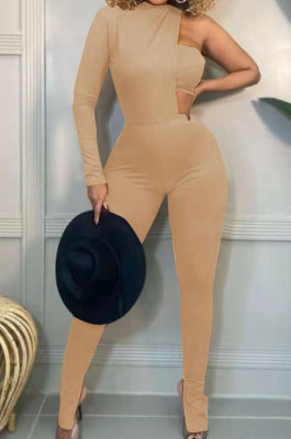 Khaki Fashion Sexy Ribber Pure Color Strapless&One Sleeve Tops Slit Skinny Pants Three Piece HH10011-2