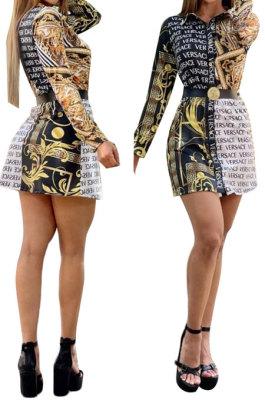 Multicolor Women Trendy Digital Printing Casual Shirts Dress YZ25689