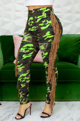 Neon Green Casual Camouflage Printed Hole Tassel Slim Fitting Jean Pants CM2161-4