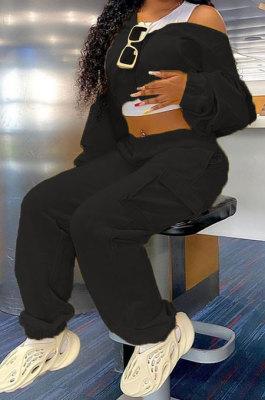 Black Women Pure Color Casual Zipper Hoodie Top Side Pocket Pants Sets DY6677-4