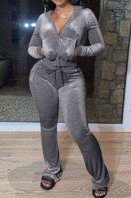 Gray Women Solid Color Pleuche Casual Hoodie Zipper Wide Leg Pants Sets ED8527-6