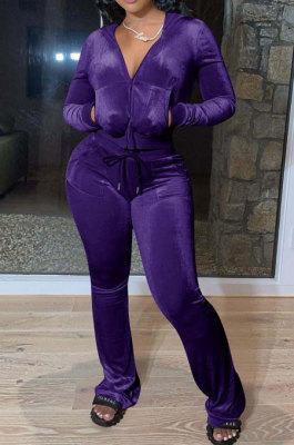 Purple Women Solid Color Pleuche Casual Hoodie Zipper Wide Leg Pants Sets ED8527-5
