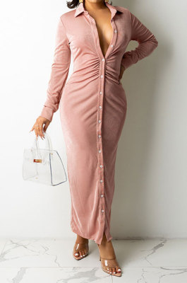 Pink Women Fashion Sexy Long Sleeve Solid Color Shirred Detail Single-Breasted Tight T Shirt/Shirt Dress DY6950-2