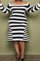 Black White Stripe Fat Women's New Long Sleeve Square Neck Slim Fitting Dress MK065