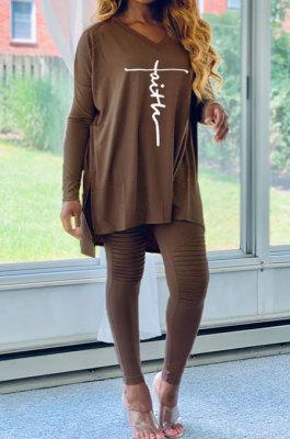 Coffee Euramerican Women Letters Printing Irregular V Collar Ruffle Casual Pants Sets DY66181-1