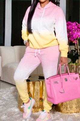 Pink Simple Gradient Printed Long Sleeve Loose Hoodie Tops Jogger Pants Sets BBN215-3