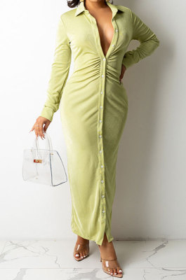 Green Women Fashion Sexy Long Sleeve Solid Color Shirred Detail Single-Breasted Tight T Shirt/Shirt Dress DY6950-3