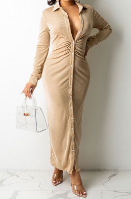 Khaki Women Fashion Sexy Long Sleeve Solid Color Shirred Detail Single-Breasted Tight T Shirt/Shirt Dress DY6950-1