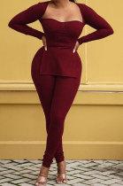 Wine Red Fashion Sexy Long Sleeve Square Neck Slit Tos Skinny Pants Plain Color Sets LSZ91195-3