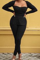 Black Fashion Sexy Long Sleeve Square Neck Slit Tos Skinny Pants Plain Color Sets LSZ91195-1