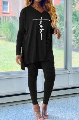 Black Euramerican Women Letters Printing Irregular V Collar Ruffle Casual Pants Sets DY66181-3