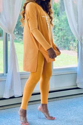 Yellow Euramerican Women Letters Printing Irregular V Collar Ruffle Casual Pants Sets DY66181-2