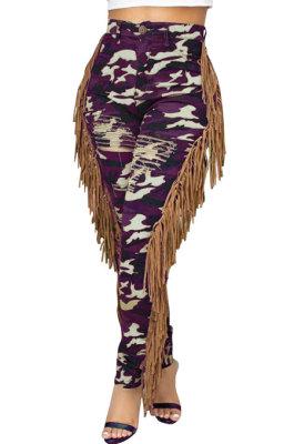 Purple Casual Camouflage Printed Hole Tassel Slim Fitting Jean Pants CM2161-1